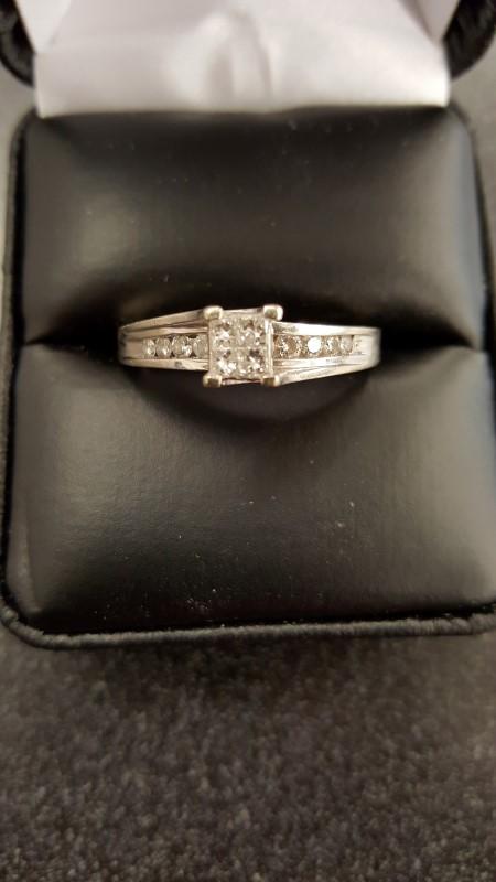 Lady's Diamond Engagement Ring 14 Diamonds .54 Carat T.W. 14K White Gold 4.2g