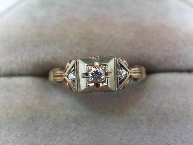 Lady's Diamond Engagement Ring 3 Diamonds .09 Carat T.W. 14K Yellow Gold 1.5g