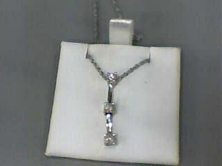 Gold-Multi-Diamond Pendant 3 Diamonds .27 Carat T.W. 14K White Gold 1.4dwt