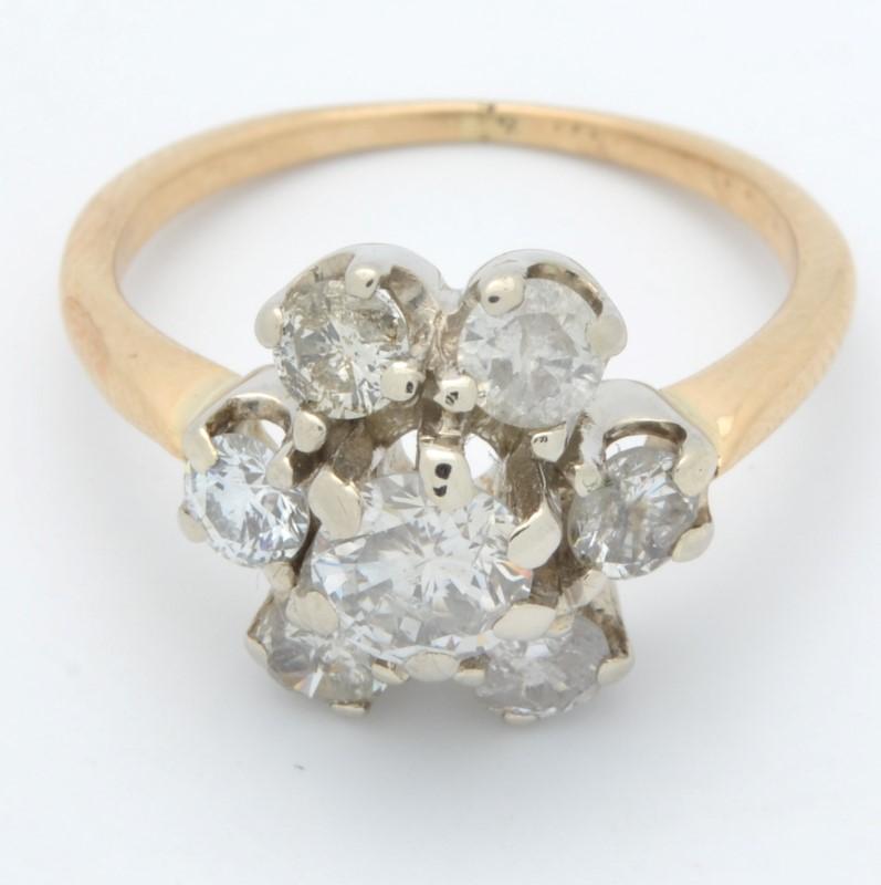 ESTATE DIAMOND RING SOLID 14K GOLD ENGAGEMENT FLOWER SNOWFLAKE  4.25