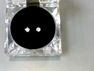 Gold-Diamond Earrings 2 Diamonds .40 Carat T.W. 14K Yellow Gold 0.5dwt