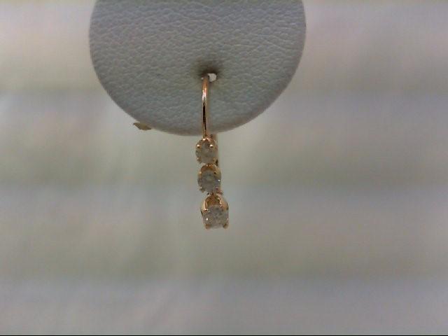 Gold-Diamond Earrings 6 Diamonds .24 Carat T.W. 10K Yellow Gold 0.8g
