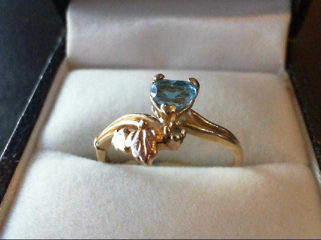 Blue Topaz Lady's Stone & Diamond Ring 0.02 CT. 10K Yellow Gold 1.8g