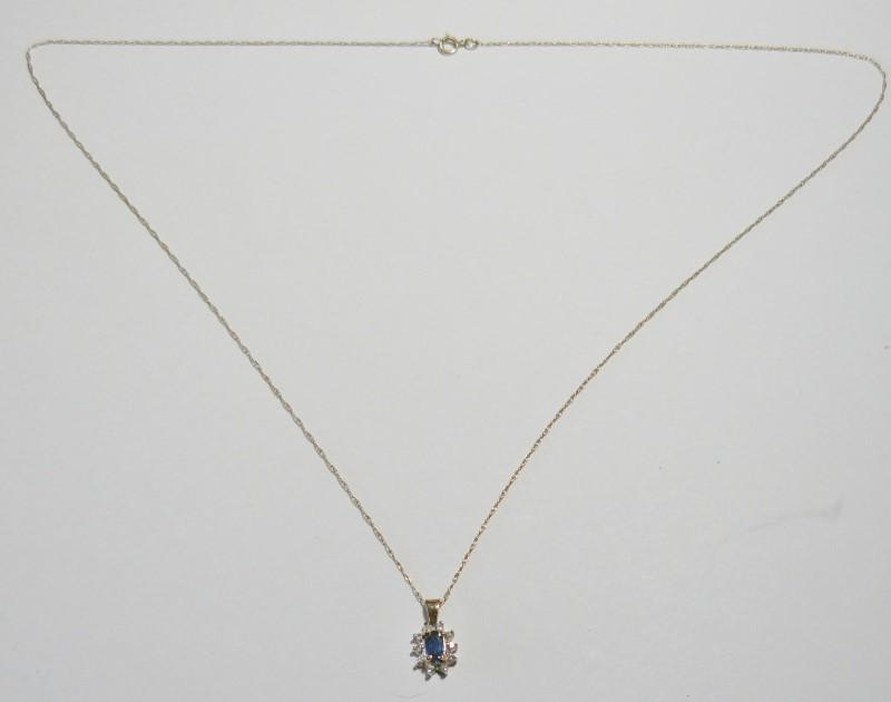 "18"" Sapphire Surrounded by Diamonds Necklace 10 Diamonds .10 Carat T.W."