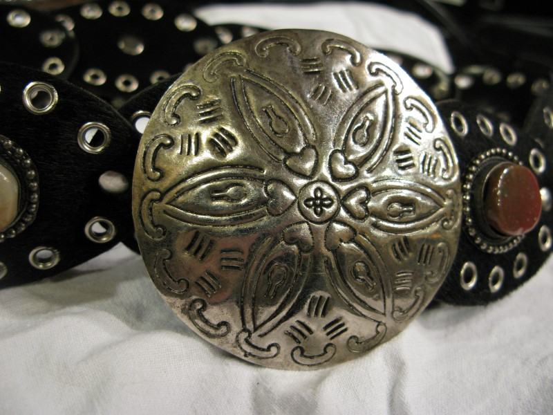 Black Leather/Leatherette, Australian Jasper, Concho & Rivet Belt, Adj to sz 45