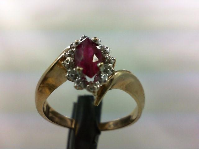 Ruby Lady's Stone & Diamond Ring 6 Diamonds 0.06 Carat T.W. 10K Yellow Gold 3.1g