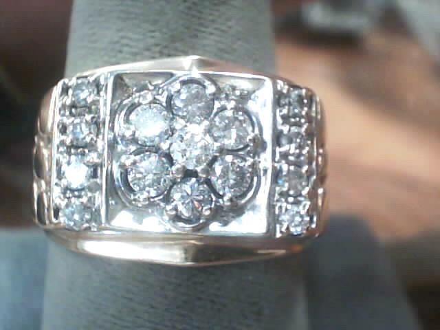 Gent's Diamond Fashion Ring 15 Diamonds .87 Carat T.W. 10K Yellow Gold 5.7dwt