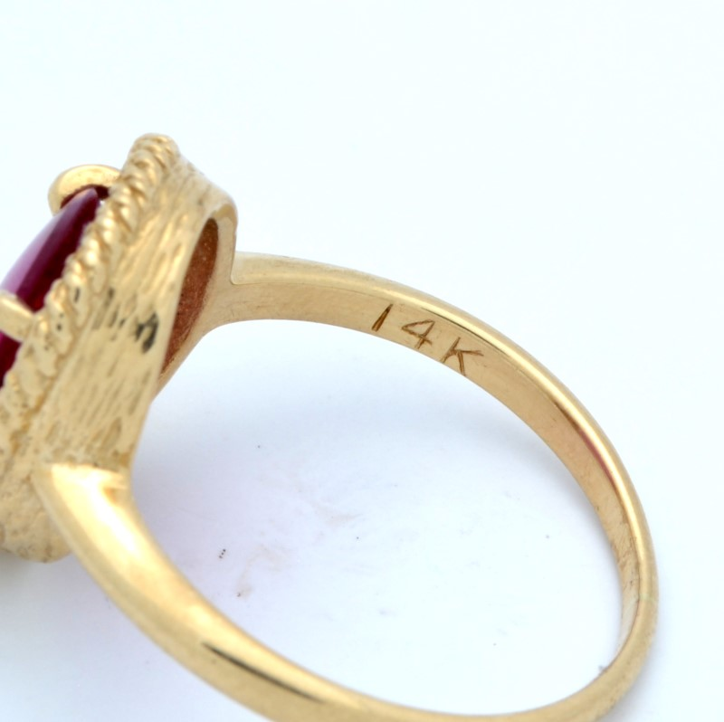 ESTATE PINK RED STONE RING SOLID 14K YELLOW GOLD OVAL FINE SIZE 7