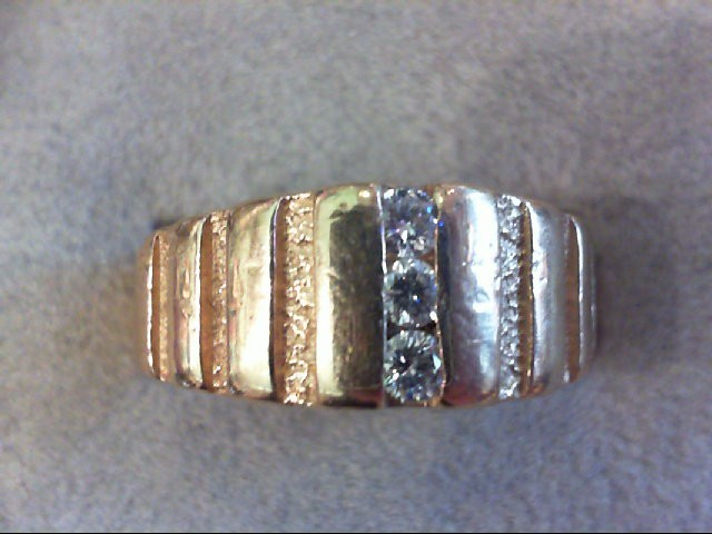 Gent's Diamond Fashion Ring 3 Diamonds .18 Carat T.W. 14K Yellow Gold 8g