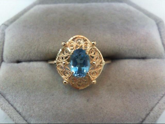 Blue Topaz Lady's Stone Ring 14K Yellow Gold 2.2g