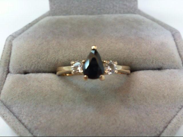 Sapphire Lady's Stone & Diamond Ring 2 Diamonds .26 Carat T.W. 14K Yellow Gold