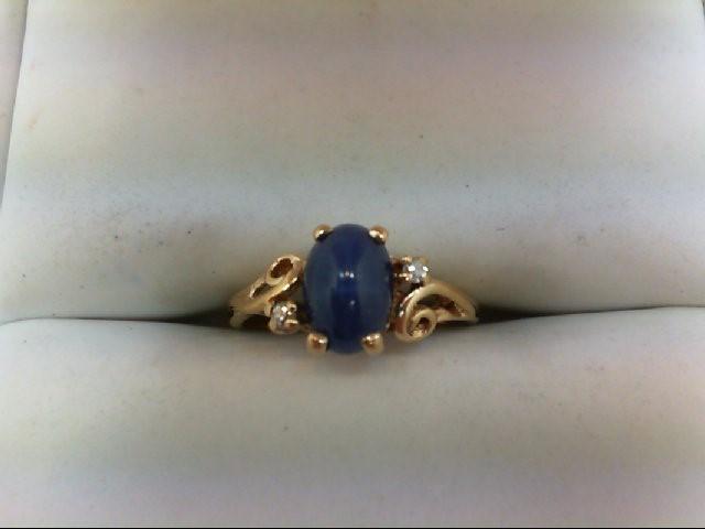 Synthetic Star Sapphire Lady's Stone & Diamond Ring 2 Diamonds .02 Carat T.W.