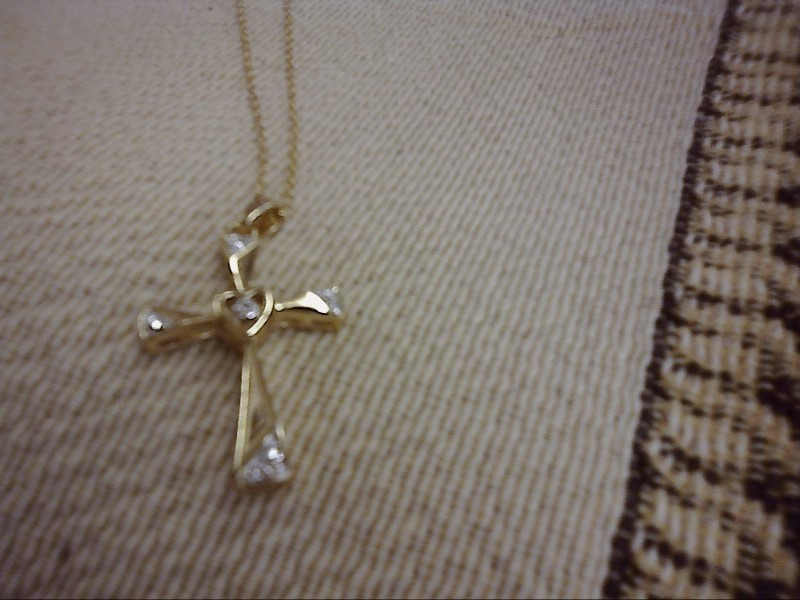 NECKLACE JEWELRY JEWELRY, 925, 2.04 DWT; NECKLACE PLATED SILVER CROSS W/HEART IN