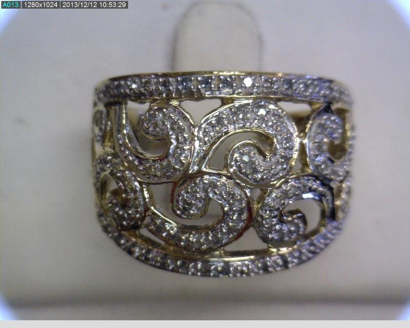 Lady's Diamond Cluster Ring 84 Diamonds .84 Carat T.W. 10K Yellow Gold 2.78dwt
