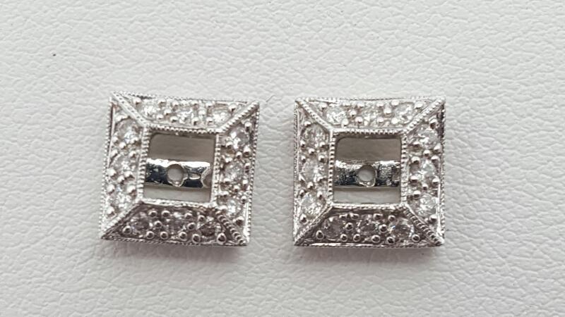 Gold-Diamond Earrings 35 Diamonds .35 Carat T.W. 18K White Gold 2.2g