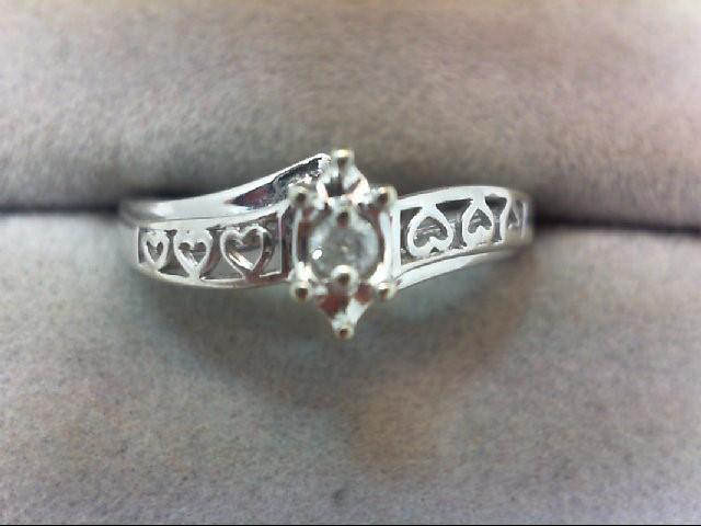 Lady's Diamond Engagement Ring .05 CT. 10K White Gold 2.4g