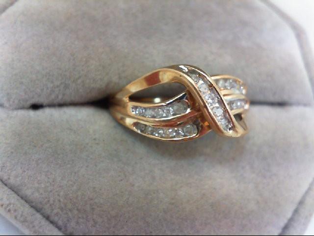 Lady's Diamond Cluster Ring 28 Diamonds .29 Carat T.W. 10K Yellow Gold 3.2g