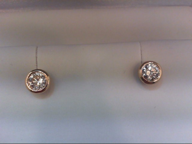 Gold-Diamond Earrings 2 Diamonds 1.00 Carat T.W. 14K Yellow Gold 2.57g