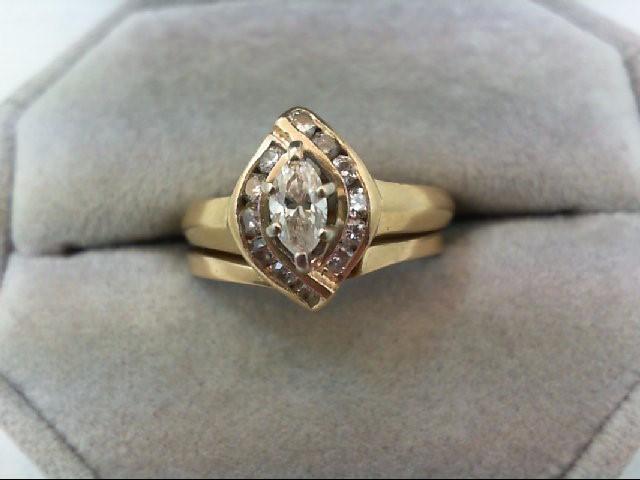 Lady's Diamond Wedding Set 13 Diamonds 0.69 Carat T.W. 14K Yellow Gold 5.5g