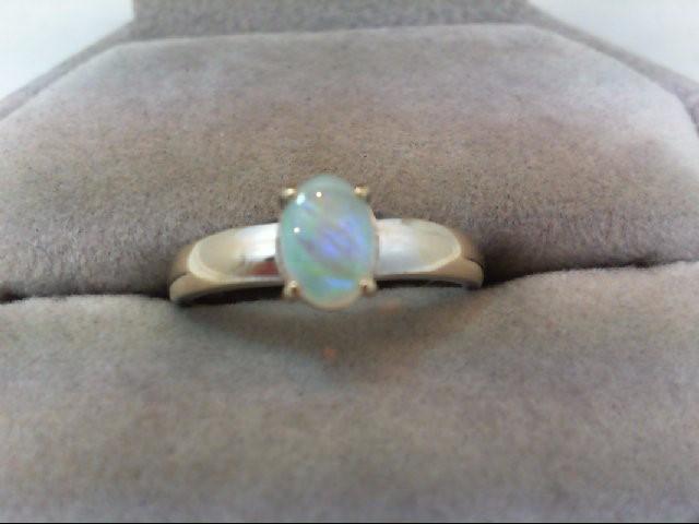 Opal Lady's Stone Ring 18K White Gold 2.3g