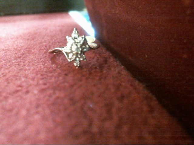 Lady's Diamond Cluster Ring 9 Diamonds .09 Carat T.W. 14K White Gold 1.5dwt
