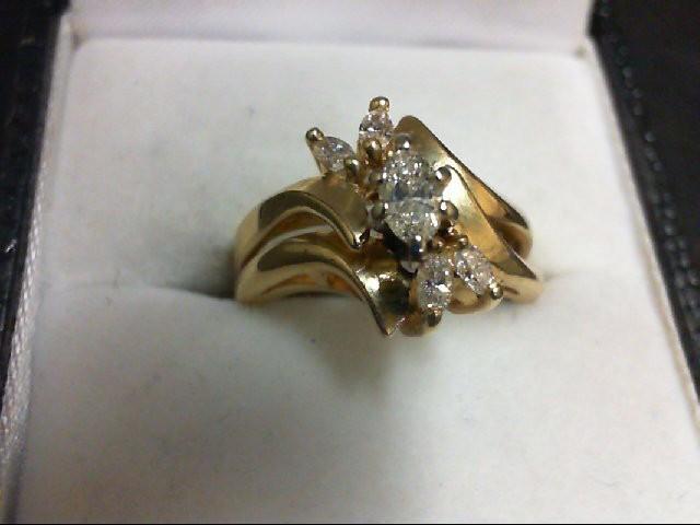 Lady's Diamond Wedding Set 5 Diamonds 0.45 Carat T.W. 14K Yellow Gold 4.8g