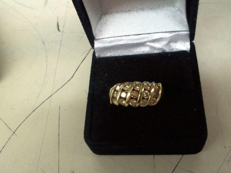 Lady's Diamond Cluster Ring 15 Diamonds .75 Carat T.W. 10K Yellow Gold 3.5g