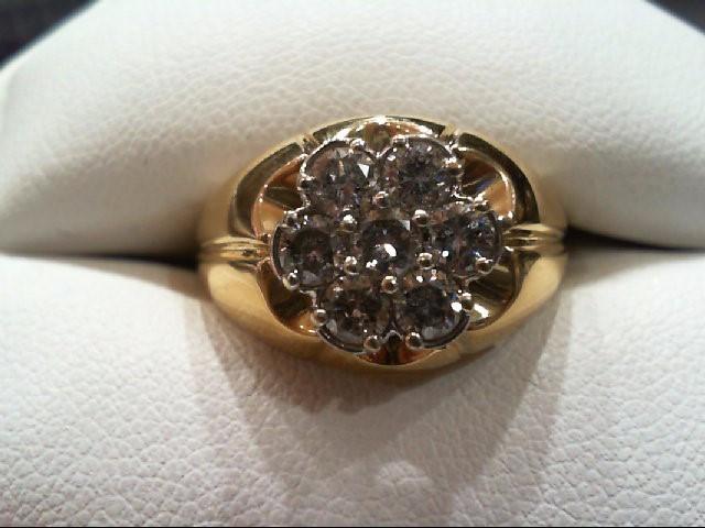 Gent's Diamond Cluster Ring 7 Diamonds .98 Carat T.W. 14K Yellow Gold 5.7g