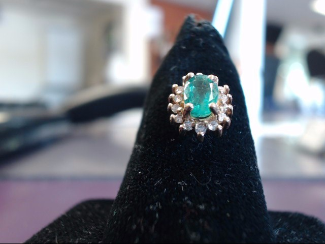 Emerald Gold-Stone Earrings 14K Yellow Gold 1.63g