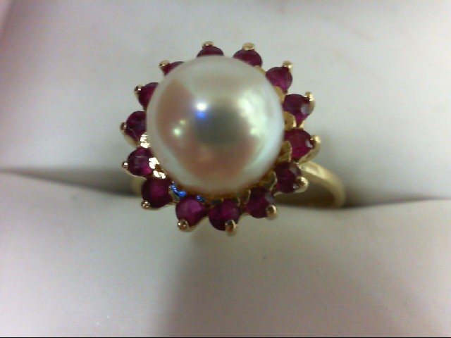 Pearl Lady's Stone Ring 14K Yellow Gold 3.4g Size:6