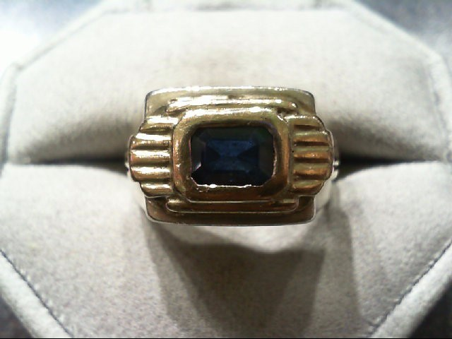 Sapphire Gent's Silver & Stone Ring 925 Silver 9.9g