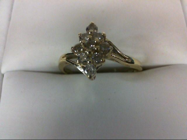 Lady's Diamond Cluster Ring 9 Diamonds 0.27 Carat T.W. 14K Yellow Gold 2g Size:7