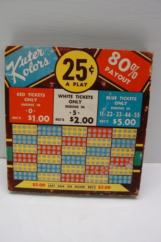 VINTAGE KUTER KOLORS $.25 PUNCH BOARD NEVER USED