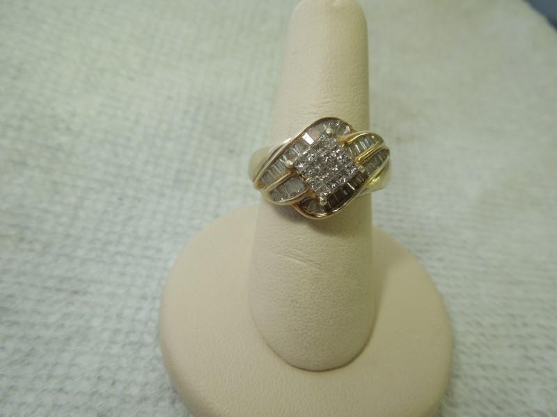 Lady's Diamond Fashion Ring 53 Diamonds 1.01 Carat T.W. 10K Yellow Gold 6.5g