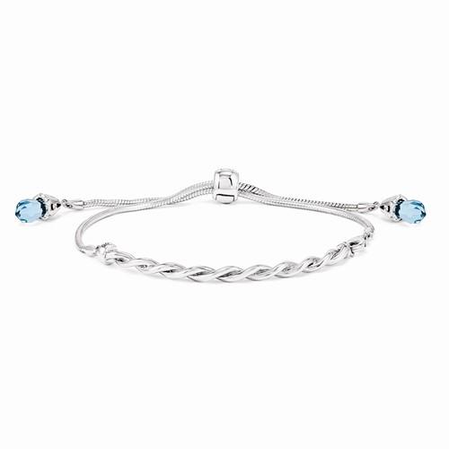 Sterling Silver Reflections Blue Swarovski crystal element bracelet