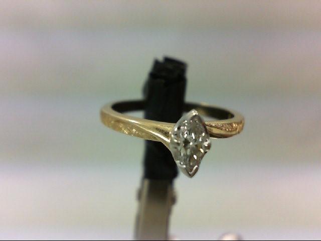 Lady's Diamond Engagement Ring 0.24 CT. 14K Yellow Gold 2.3g Size:5.75