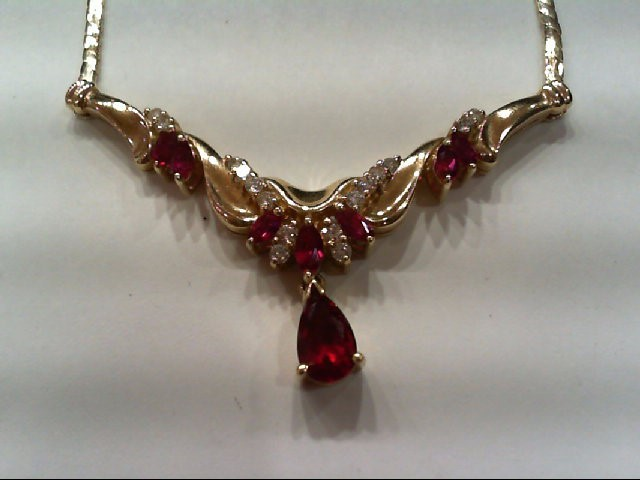 Ruby Diamond & Ruby Necklace 16 Diamonds .25 Carat T.W. 14K Yellow Gold 12g
