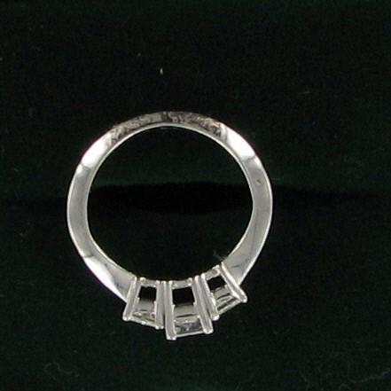 Lady's Gold-Diamond Anniversary Ring 3 Diamonds 0.5 Carat T.W. 14K White Gold 1.