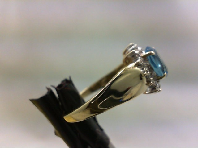 Blue Topaz Lady's Stone & Diamond Ring 6 Diamonds .06 Carat T.W.