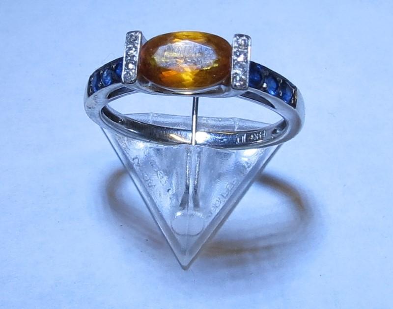 Almandite Garnet Lady's Stone & Diamond Ring 4 Diamonds .04 Carat T.W.