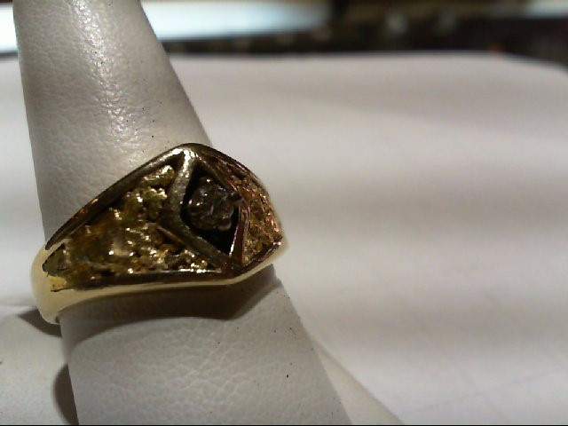 Gent's Diamond Solitaire Ring .15 CT. 10K Yellow Gold 10g Size:10