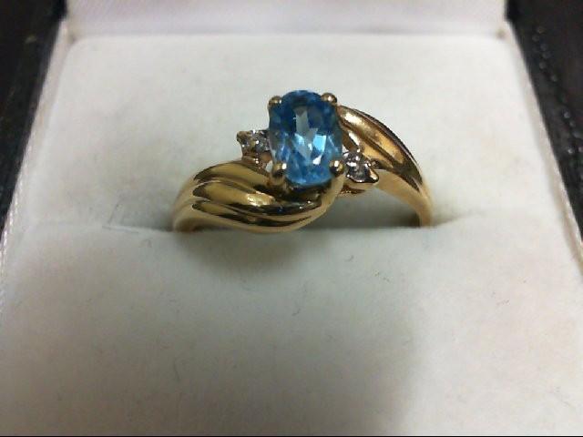 Blue Topaz Lady's Stone Ring 10K Yellow Gold 1.7g