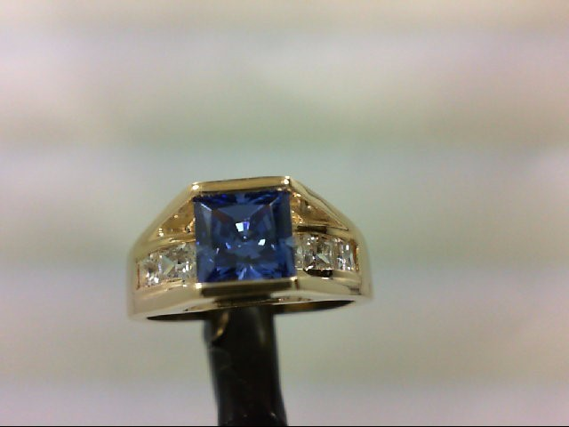 Cubic Zirconia Lady's Stone Ring 14K Yellow Gold 6.8g Size:6