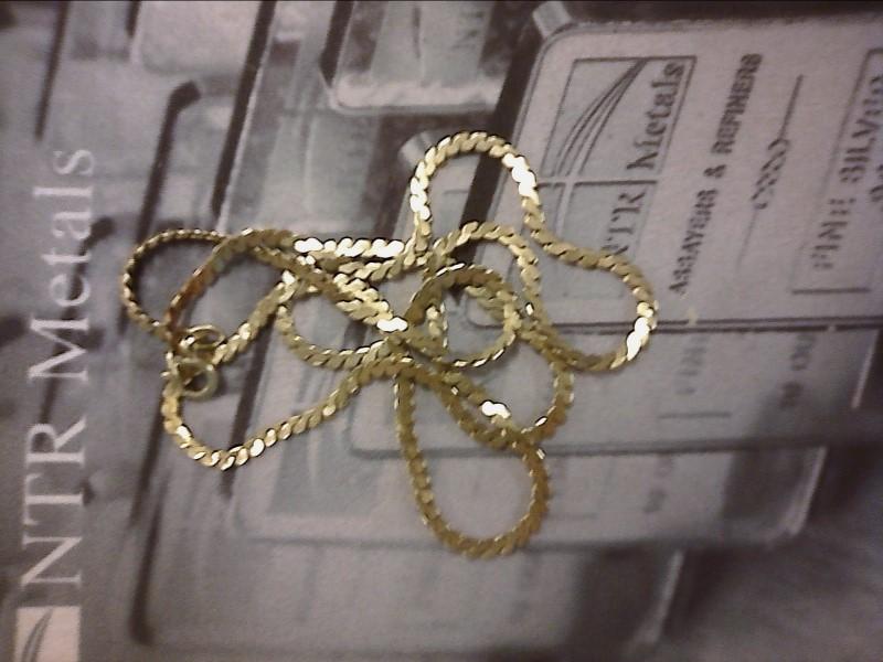 "18"" Gold Serpentine Chain 14K Yellow Gold 4.71dwt"