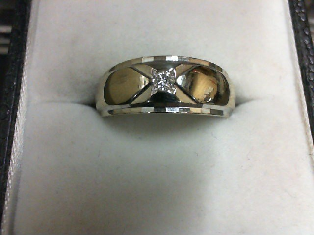 Gent's Gold-Diamond Wedding Band 0.05 CT. 14K White Gold 5g