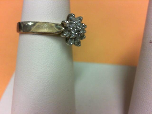 Lady's Diamond Cluster Ring 16 Diamonds .64 Carat T.W. 10K Yellow Gold 3g