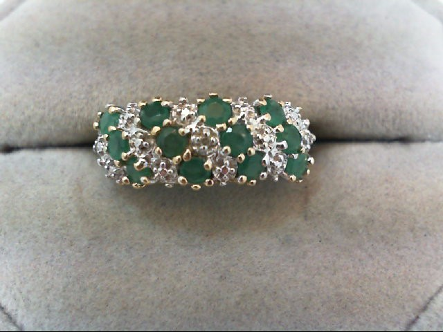 Emerald Lady's Stone Ring 10K Yellow Gold 3g Size:7