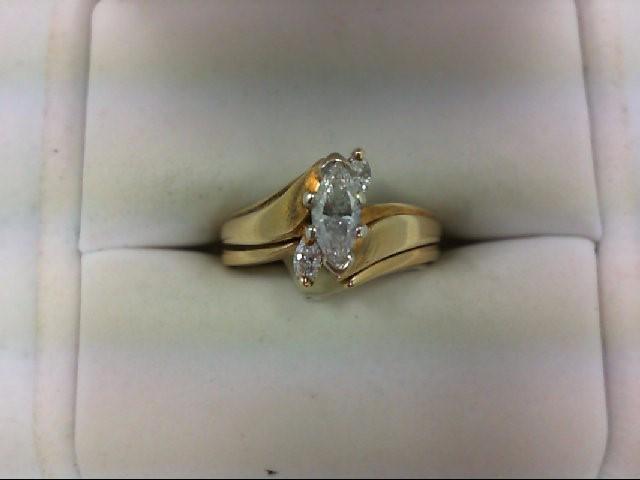 Lady's Diamond Wedding Set 3 Diamonds 0.6 Carat T.W. 14K Yellow Gold 5g Size:5
