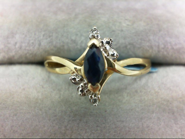 Sapphire Lady's Stone Ring 10K Yellow Gold 1.3g Size:7