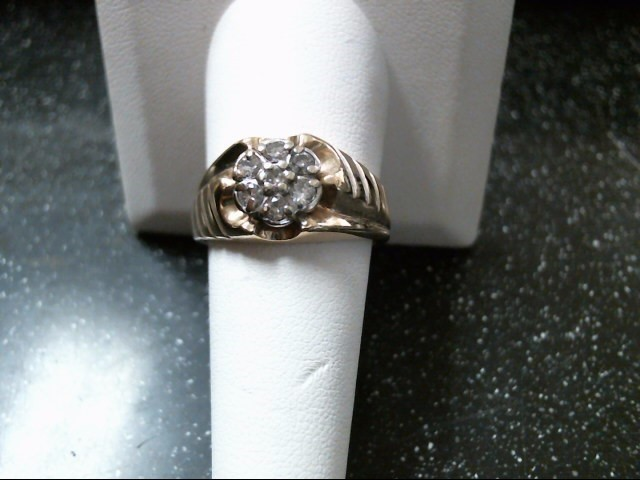 Gent's Diamond Cluster Ring 7 Diamonds .42 Carat T.W. 10K Yellow Gold 5.7g